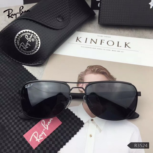 616f5c2e90 Fake Ray Ban Hightstreet Sunglasses RB3524 Black Frame Black Lens ...