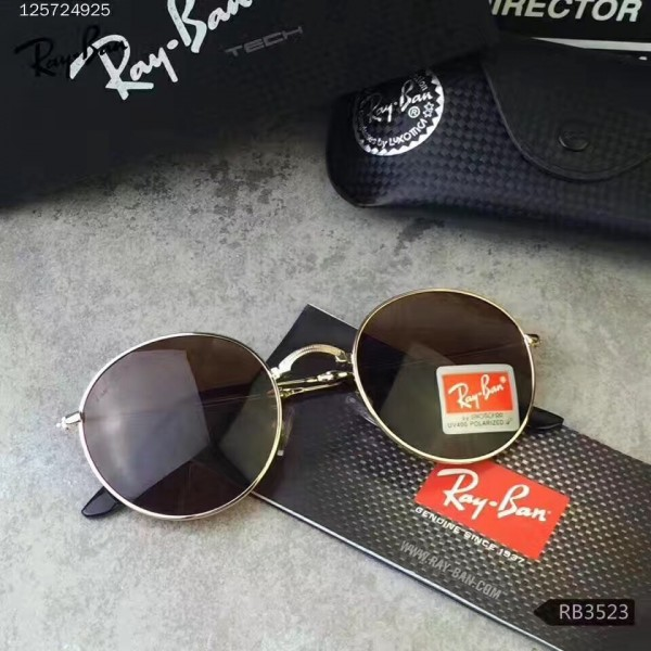 f23af89006 Fake Ray Ban Round Folding Sunglasses RB3517 Silver Frame Brown Lens ...